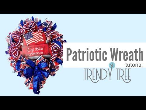 Patriotic Deco Mesh Wreath Ruffle Technique & God Bless America Sign