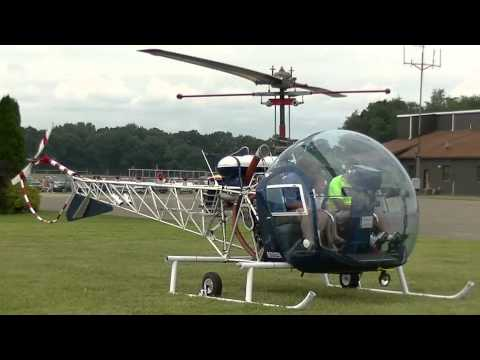 Bell 47 Helicopters. Start up, take off, landings, flying Police.