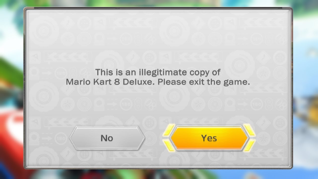 Mario Kart 8 Deluxe (2017) - Anti-Piracy Screen