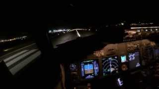 malaga night takeoff boeing 737 800 cockpit view