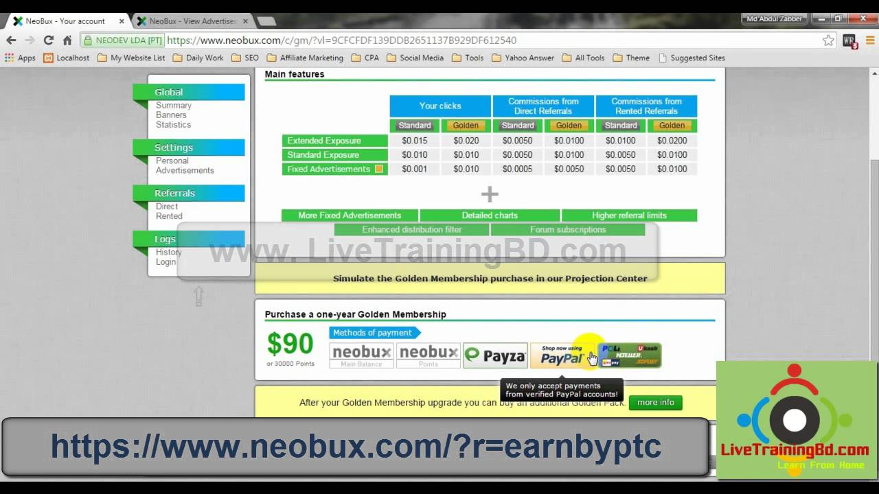 Neobux Bangla Tutorial Full for $0.05 to $ 50 Earning Perday with online support