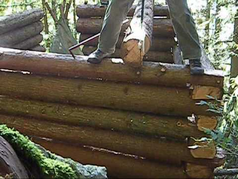 Log cabin notching youtube How to build a butt and pass log cabin