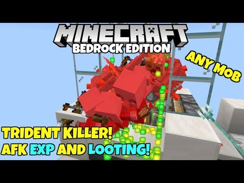 Minecraft Bedrock: Automatic Trident Killer! AFK EXP And Looting! MCPE Xbox PC