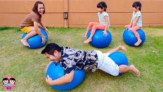 แม่ปุ๋ยชวนหนูยิ้มหนูแย้มแข่งเกาะบอล ฝึกการทรงตัว