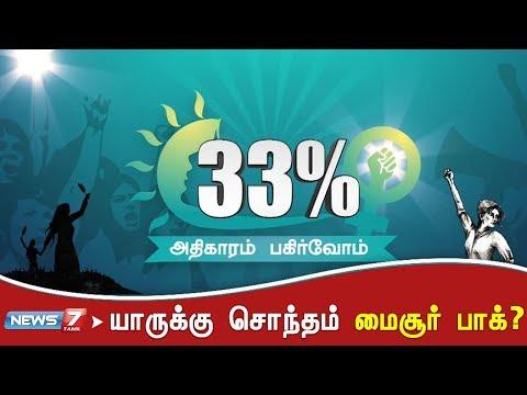 யாருக்கு சொந்தம் மைசூர் பாக்? | 33சதவீதம்  Subscribe➤ https://bitly.com/SubscribeNews7Tamil  Facebook➤ http://fb.com/News7Tamil Twitter➤ http://twitter.com/News7Tamil Instagram➤ https://www.instagram.com/news7tamil/ HELO➤ news7tamil (APP) Website➤ http://www.ns7.tv    News 7 Tamil Television, part of Alliance Broadcasting Private Limited, is rapidly growing into a most watched and most respected news channel both in India as well as among the Tamil global diaspora. The channel's strength has been its in-depth coverage coupled with the quality of international television production.