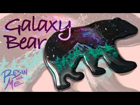 Resin With Me | Galaxy Bear | Layered Resin Painting