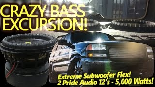 CRAZY BASS EXCURSION! Extreme Russian Subwoofer Flex! 2 Pride Audio 12's GETTIN' IT!