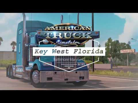 Key West Florida to Baltimore Maryland American Truck Simulator with Coast to Coast map mod