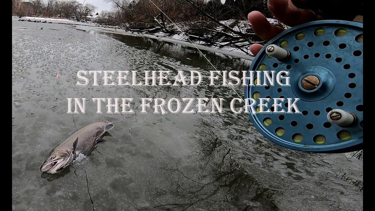 Winter steelhead fishing in the frozen creek.