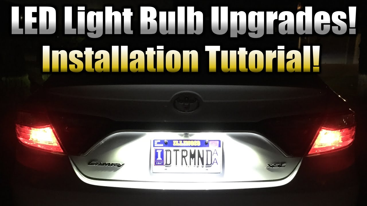2016 Toyota Camry Xse >> LED License Plate Bulb Upgrade - Installation Tutorial! (2015 Toyota Camry XSE Demo) - YouTube