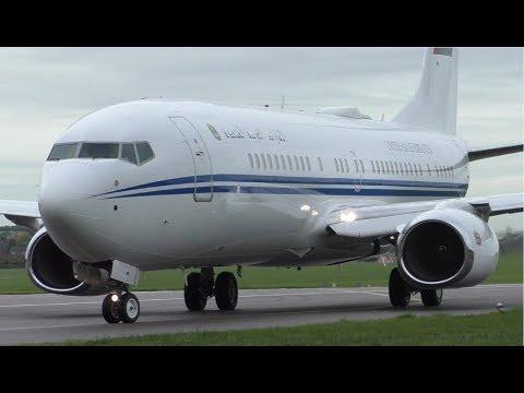 Dubai Air Wing Boeing 737 Departure at Cambridge Ariport