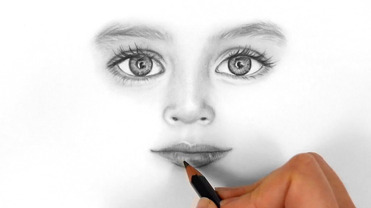 Timelapse drawing realistic eyesnose and lips of a child with graphite pencils emmy kalia