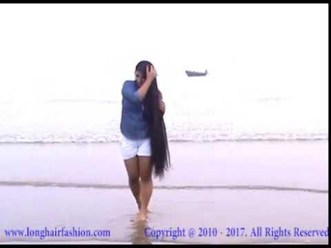 Beautiful Long Hair Girl In The Beach