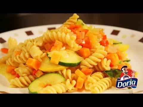 Tornillos Doria con verduras primavera