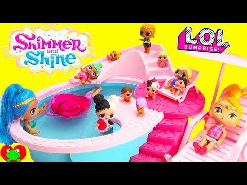Shimmer and Shine Babysit LOL Surprise Dolls At Pool Water Slide