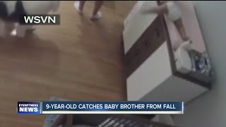 AMAZING VIDEO: Boy catches baby before he hits the floor