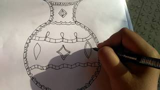 How to draw a decorative pot