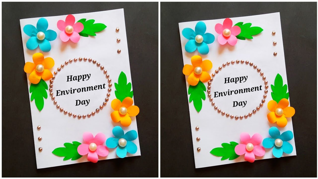 Easy Environment Day greeting card • environment day card idea • handmade world environment day card