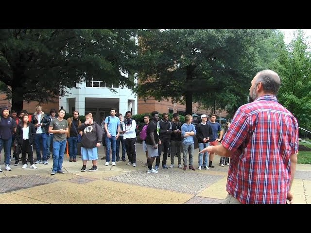 Atheists, Hypocrites and Sinners at George Mason University - Kerrigan Skelly Open Air Preaching