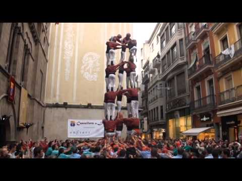 Castellers en la plaça paeria de lleida 2015