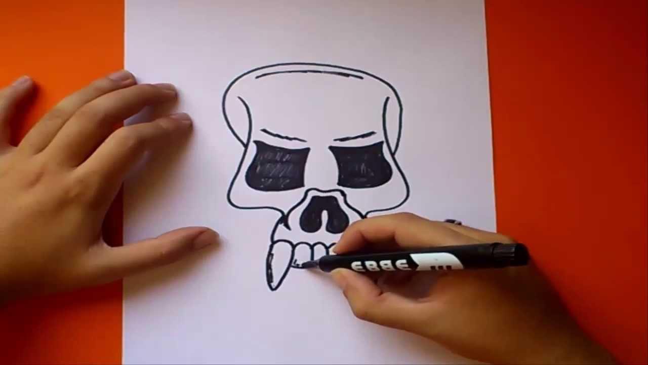 Como dibujar una calavera paso a paso 3  How to draw a skull 3