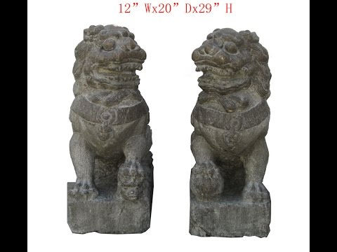 Chinese Antique Hand Carving FenShui Foo Dog Statue WK2907