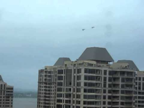Fighter Jets flying low over downtown Montreal