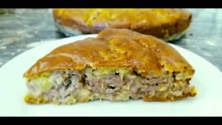 Пирог с мясом. Простой быстрый рецепт. Вкусный и сочный Семейный беляш! ))