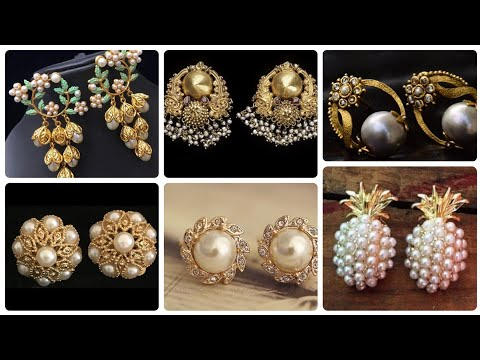 Elegant and Gorgeous gold  And Pearl Stud earrings design and ideas