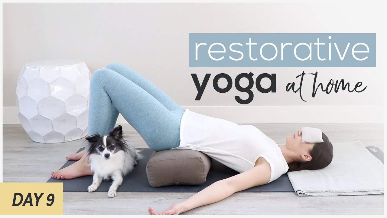 Restorative Yoga Poses At Home   Supported Bridge Pose With Bolster