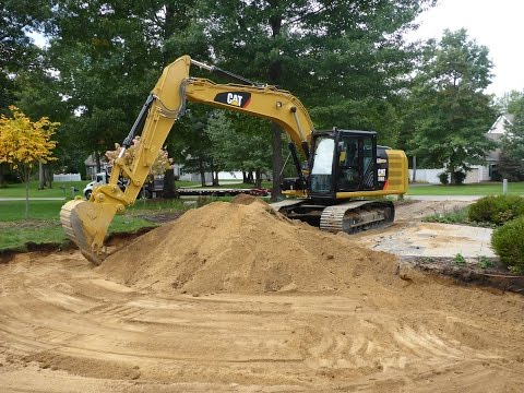 Cat 316E Excavating For Driveway Using Trimble GCSFlex System
