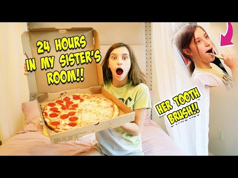 I SPENT 24 HRS OVERNIGHT IN MY SISTER'S ROOM!!