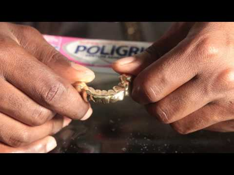 how to clean poligrip out gold teeth