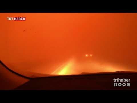 Çin'den Moğolistan'a uzanan duman, sis ya da yağış değil, kum fırtınası...