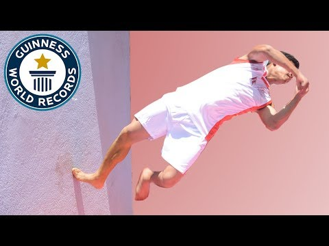 Most twisting backflips off a wall in one minute (parkour) – Guinness World Records