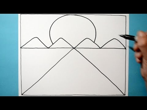 Easy 3D Abstract Landscape Drawing / Line Illusion Pattern / Daily Art Therapy / Day 0119