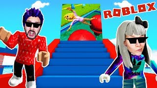 Roblox: WIPEOUT WATER PARK! KAAN VS. NINA WHO CAN CUT OFF FASTER? Wipeout Obby English
