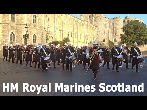 Royal Navy With The Band Of HM Royal Marines Scotland, F Company Scots Guards