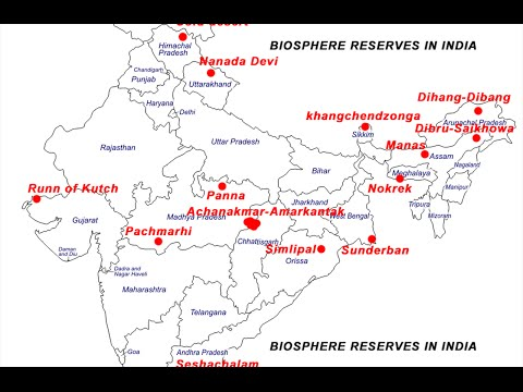 Biosphere Reserves in India on a map
