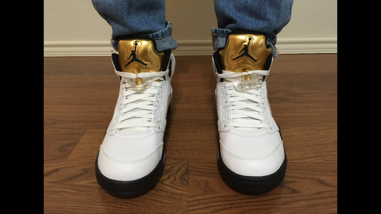 big sale 47778 67fcd Jordan Retro 5 Gold Medal Coin unbox and on feet review
