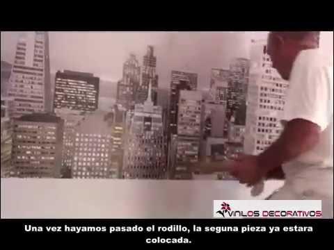 Como colocar un fotomural de papel pintado youtube for Colocar papel pintado