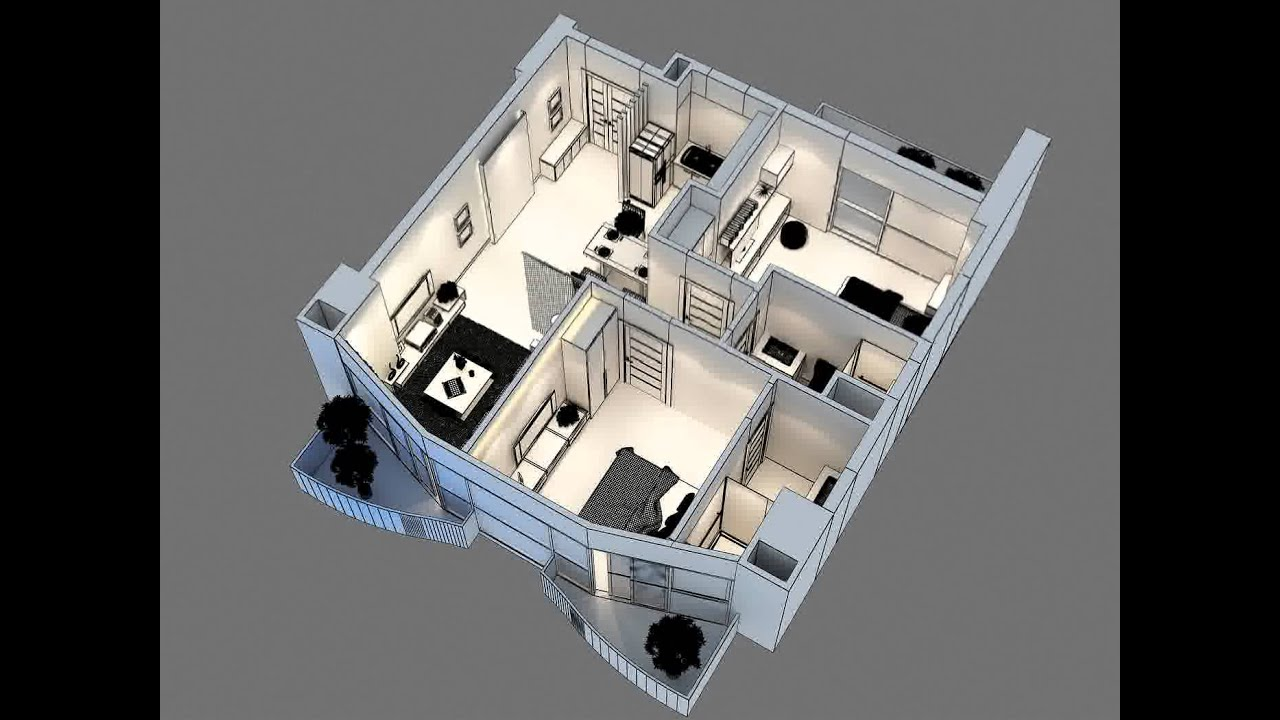 3d model of detailed interior apartment 3d model youtube for Apartment 3d model