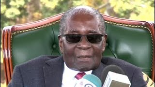Former Zimbabwean Pres Robert Mugabe holds media briefing on the eve of July 30th polls