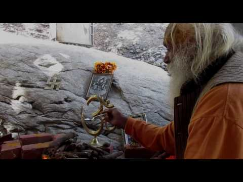 Swami Sundaranand ji performing 1st Yagya at Hiranyagarabha Art Gallery Tapovan Kuti Gangotri
