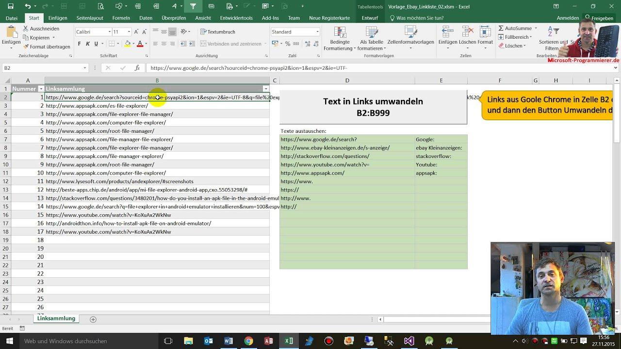Excel Vorlage: Link-Sammlung von Browser in Excel-Tabelle umwandeln ...