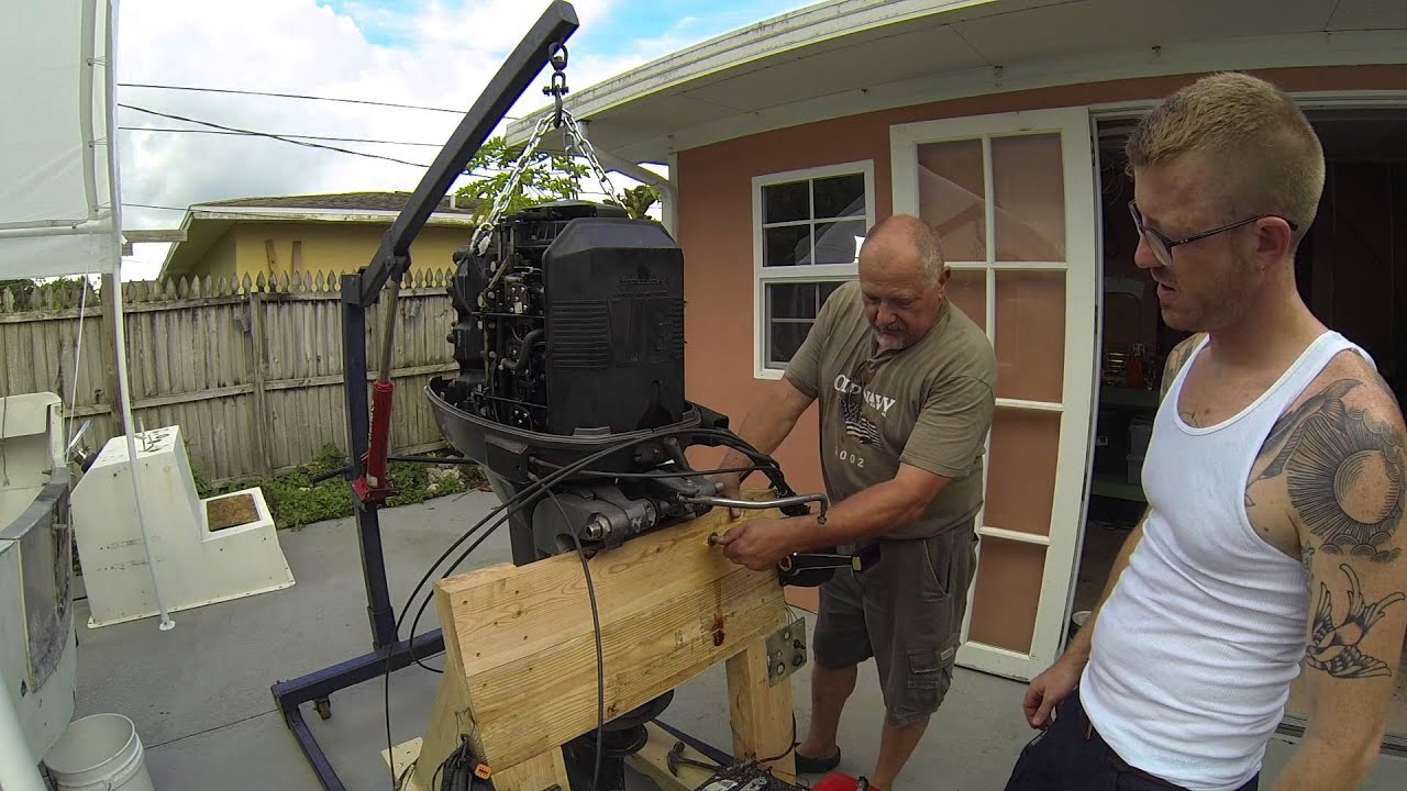 How to easy outboard motor removal youtube for Large outboard motor stand