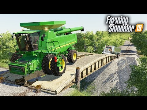 "FS19- BRIDGE BUILDING- OUR ""FARM BRIDGE"" IS WORKING! TESTING HEAVY EQUIPMENT ON THE BRIDGE"