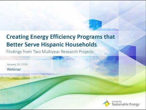 Webinar: Creating Energy Efficiency Programs that Better Serve Hispanic Households