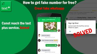 How to get unlimited Numbers for free || Cannot reach text plus service error fixed | screenshot 5