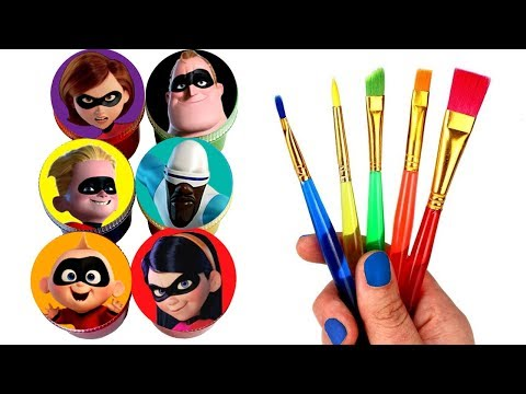 The Incredibles 2 Drawing And Painting Jack-Jack Violet Dash Elastigirl Frozone Bob Surprise Toys